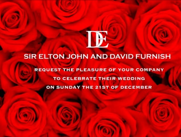 Elton John and David Furnish share picture of their wedding invite ahead of their marriage, 21 December 2014