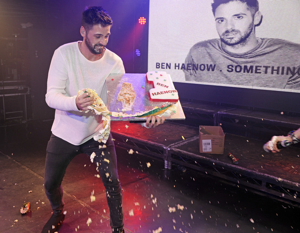 2014 'X Factor' winner Ben Haenow performs live at G-A-Y and has a cake fight on stage, 20 December 2014