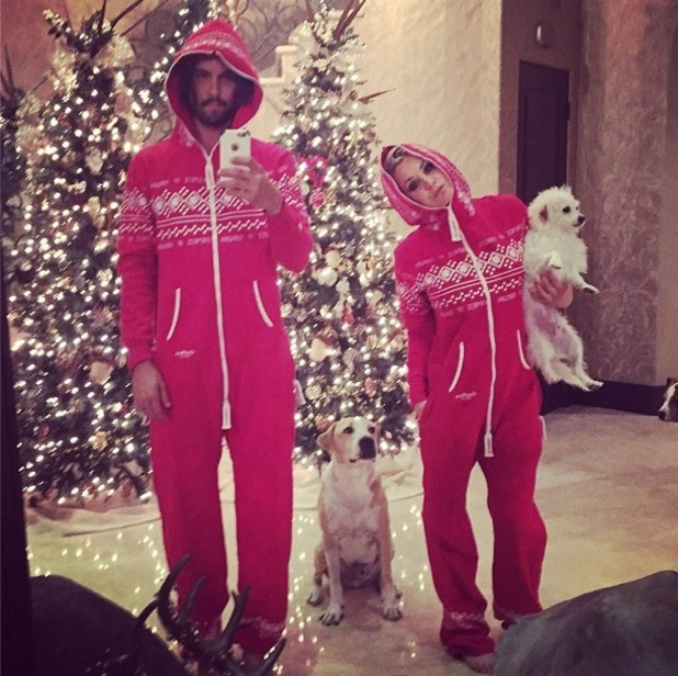Kaley Cuoco-Sweeting and Ryan Sweeting change into onesies after attending the People Magazine Awards in Los Angeles, America - 18 December 2014