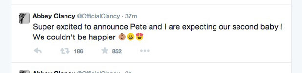 Abbey Clancy and Peter Crouch announce second baby is on the way, 16 December 2014