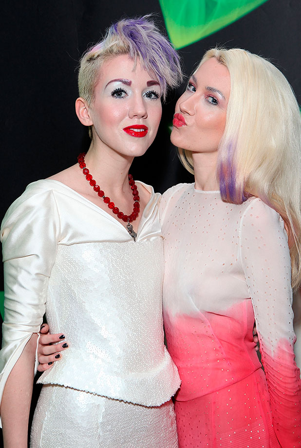 Jasmine King and Natasha King AKA Blonde Electra attend an after party following the media night performance of 'Wicked' at the Victoria Park Plaza Hotel on December 18, 2014 in London, England.