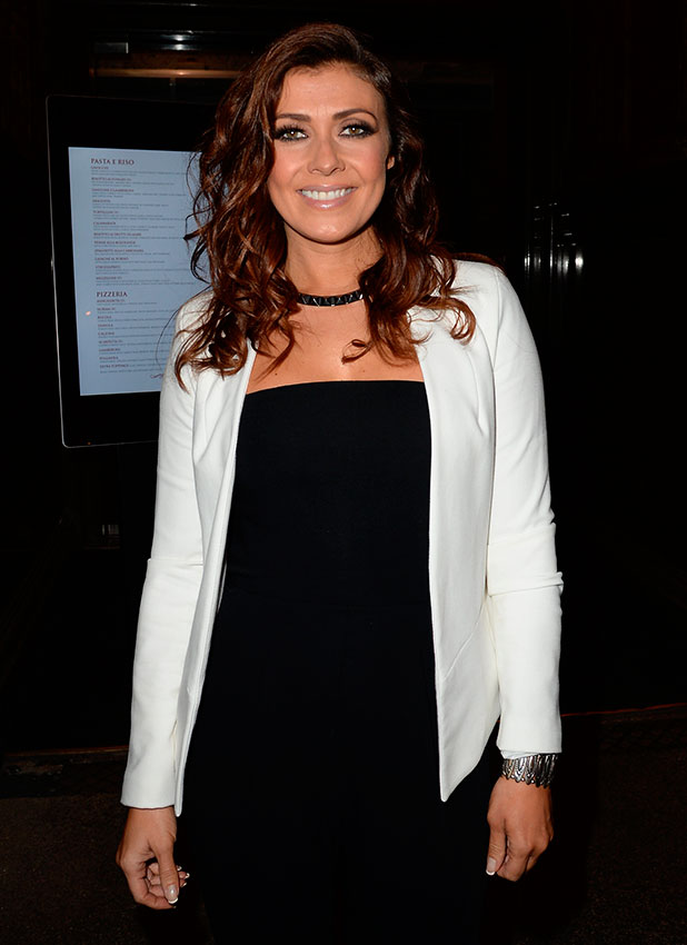 Kym Marsh leaves Rosso restaurant in Manchester, 24 October 2014
