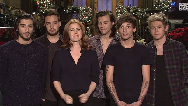 Amy Adams and One Direction in SNL promo, 18 December 2014