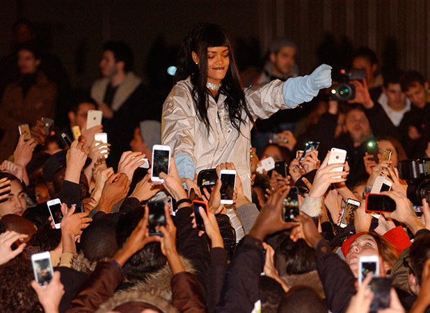 Rihanna shooting a video at the Trocadero in Paris, 18 December 2014