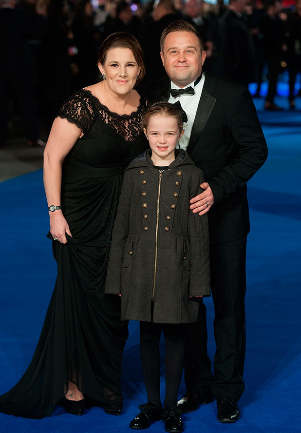 Sam Bailey with husband Craig and daughter Brooke at Night at the Museum: Secret of the Tomb' - UK film premiere held at the Empire Leicester Square, 15 December 2014