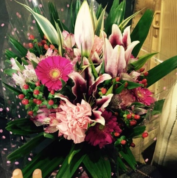 Jacqueline Jossa shares flowers picture as she starts maternity leave - 23 Dec 2014