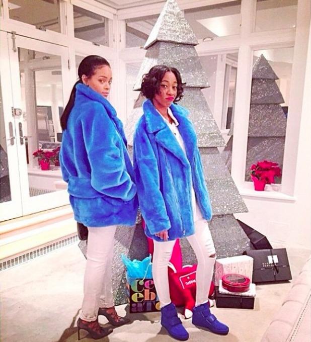 Rihanna wears huge blue coat as she channels her inner smurf, 24 December 2014