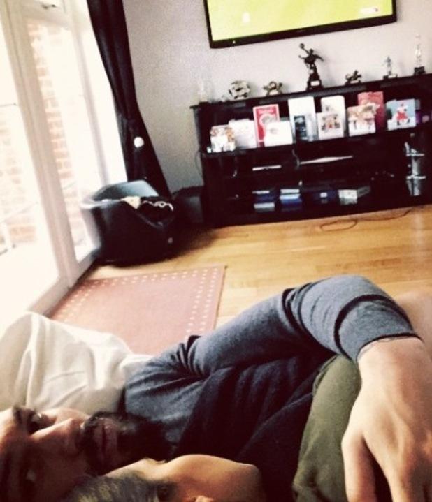 Mario Falcone snuggles up to girlfriend Emma Jane McVey - 22 Dec 2014