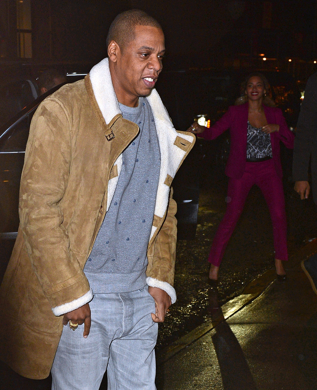 Jay Z and Beyonce Knowles seen on the streets of Manhattan on December 22, 2014 in New York City.