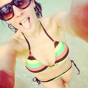 Caroline Flack shares pictures from her New Year holiday to Jamaica, 2 January 2015