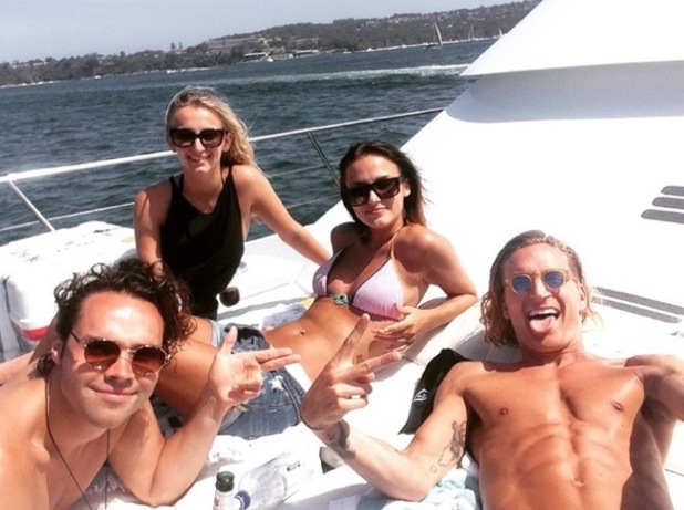 Lucy Watson, Tiffany Watson, Oliver Proudlock, Andy Jordan spend New Year's Day in Australia 1 January 2015
