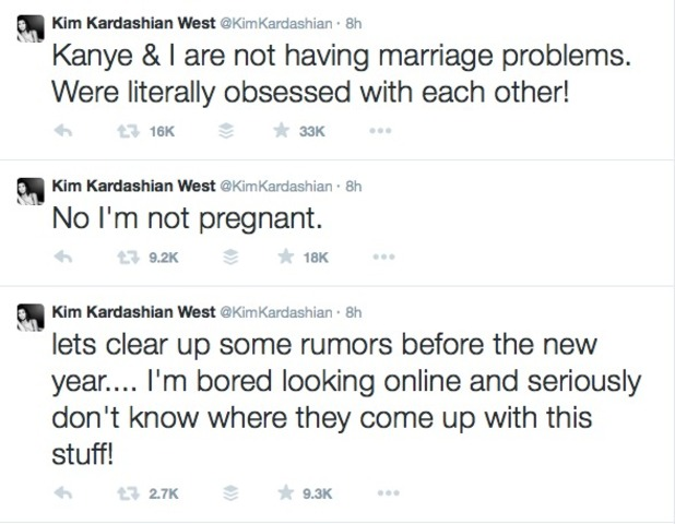 Kim Kardashian sets the world to rights on New Year's Eve 2014.