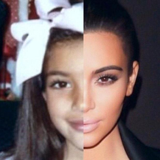 Kim Kardashian compares similarities with her adult self with her younger self, 2 January 2015