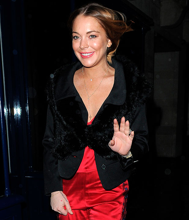 Lindsay Lohan attends Sunday Times Style - Christmas party at Tramp Club, 2014