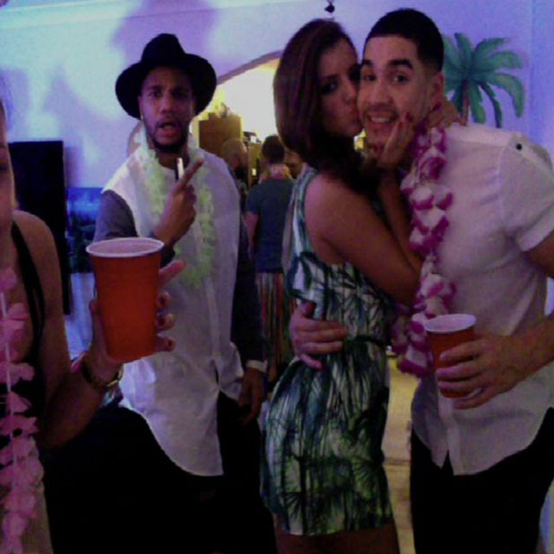 Lucy Mecklenburgh and Louis Smith celebrate New Year's Eve at a tropical-themed party, 31 January 2014