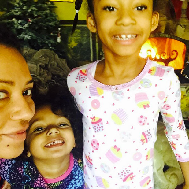 Mel B with daughters Angel and Madison on New Year's Day 2015