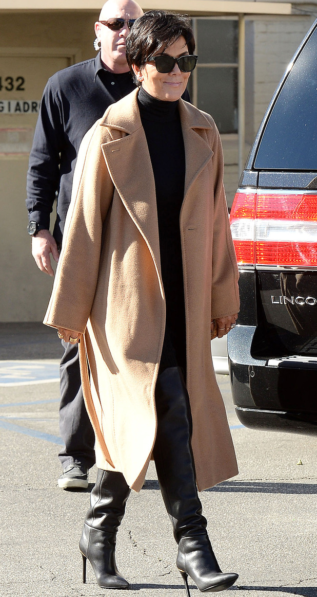 Kris Jenner wears a camel coat while out in Beverly Hills, America - 6 January 2015