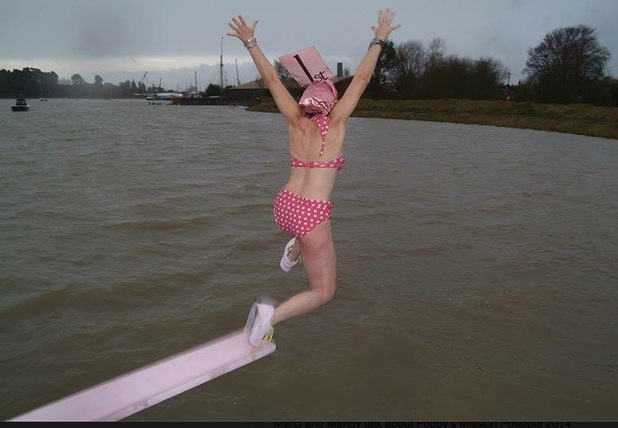 Mandy Hearle jumping into a river on New Year's Day