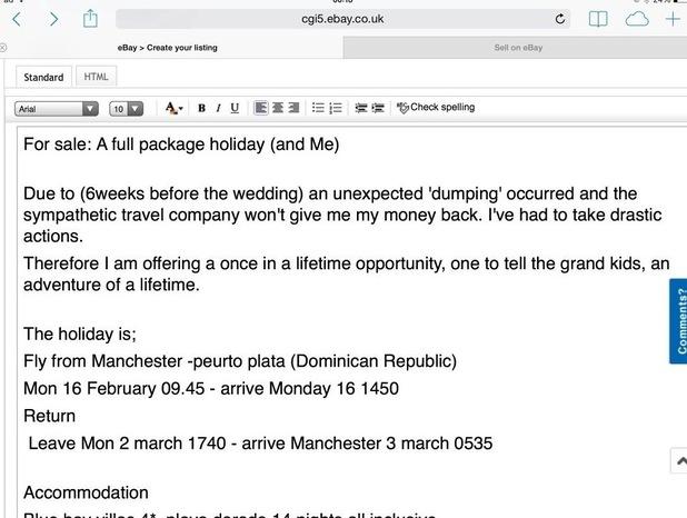 Screenshot of John Whitbread's eBay listing