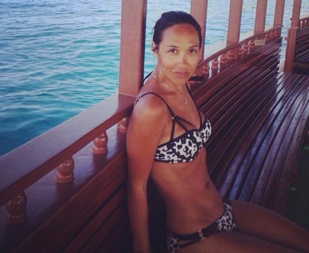 Myleene Klass shows off tan lines on holiday 8 January