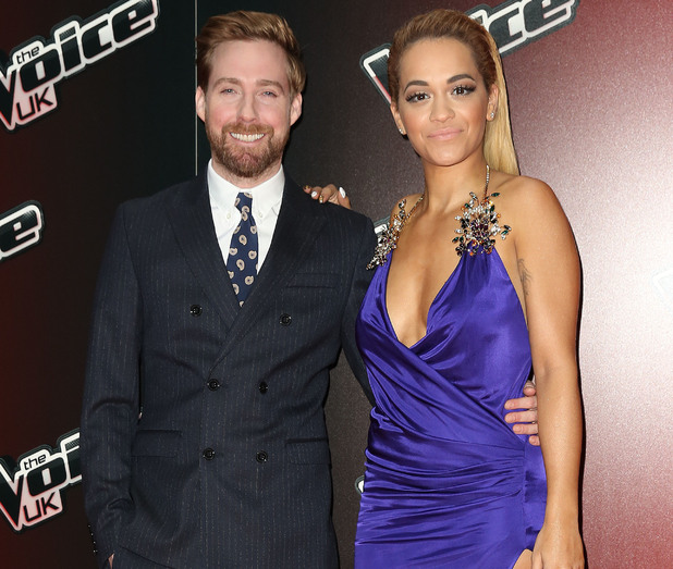 Ricky Wilson and Rita Ora attend the launch for The Voice UK 2015, Mondrian Hotel, London 5 January