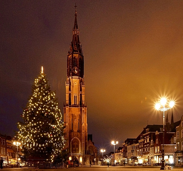 Town with Christmas tree