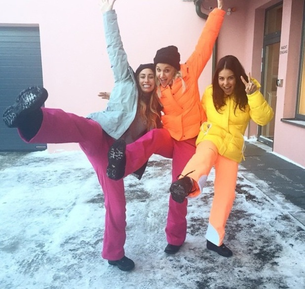 Louise Thompson, Stacey Solomon and Ashley Roberts in Austria for The Jump 6 January