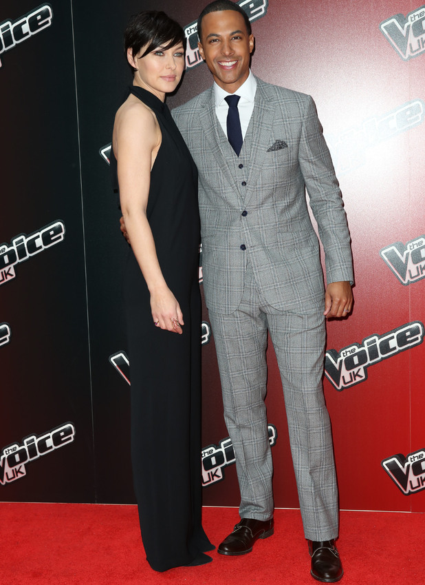 Marvin Humes and Emma Willis attend the launch for The Voice UK 2015, Mondrian Hotel, London 5 January