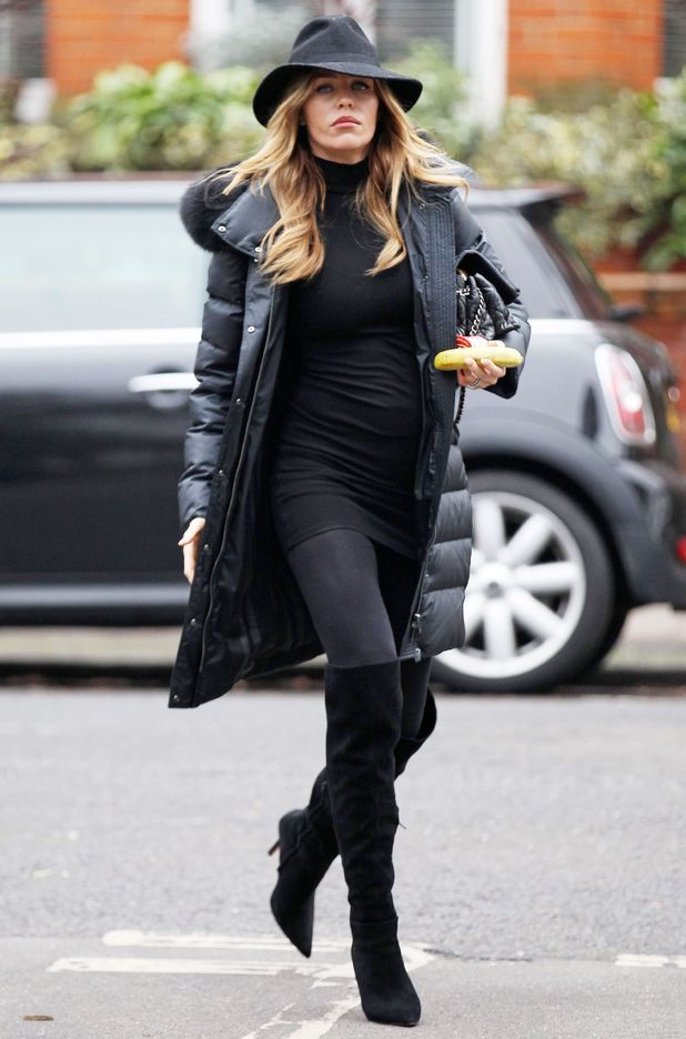 Pregnant Abbey Clancy wears head-to-toe black while out in London, England - 5 January 2015