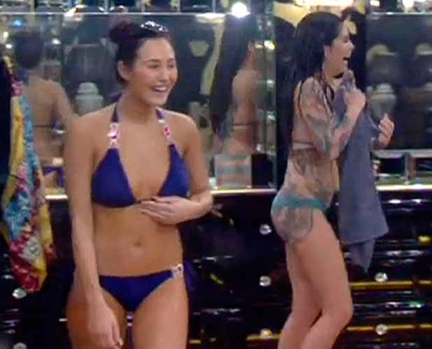 CBB: Cami Li and Chloe Goodman chase Keith Chegwin around in their bikinis, 8 January 2014