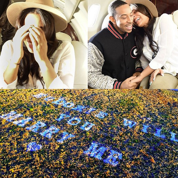 Ludacris and wife Eudoxie Mbouguiengue's mile high proposal, 27 December 2014