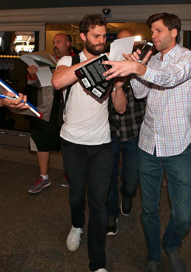 Jamie Dornan arrives at Los Angeles International (LAX) airport, 7 January 2015