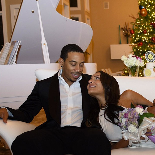 Ludacris and wife Eudoxie Mbouguiengue on their wedding day, posted to Instagram January 6 2015