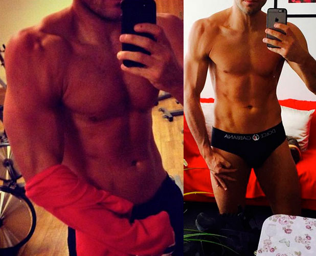 Mark Wright shows off his body before and after Strictly Come Dancing. He lost 1.5 stone on the show, 5 January 2014
