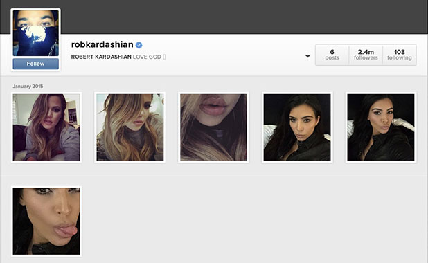 Rob Kardashian's Instagram is hacked by sisters Khloe and Kim, 5 January 2014