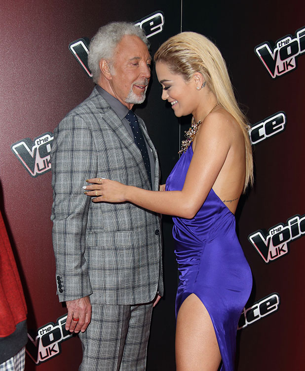 Sir Tom Jones and Rita Ora attend the launch of 'The Voice UK' Series 4 at The Mondrian Hotel on January 5, 2015 in London, England.
