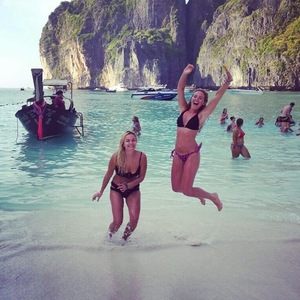 Lydia Bright and sister Georgia holiday in Koh Phi Phi, Thailand 12 January