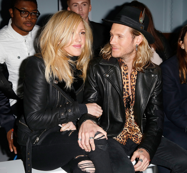 Ellie Goulding and Dougie Poynter attend the Moschino show at the London Collections: Men AW15 at on January 11, 2015 in London, England.