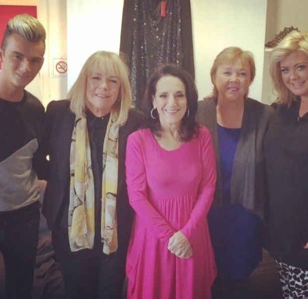 Gemma Collins and Harry Derbidge pose with Birds of a Feather's Linda Robson, Pauline Quirke and Lesley Joseph on ITV's Mel & Sue - 14 January 2015.