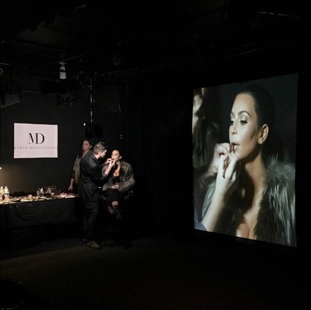 Kim Kardashian West has her make-up done by Mario Dedivanovic at his make-up masterclass in New York - 11 January 2015