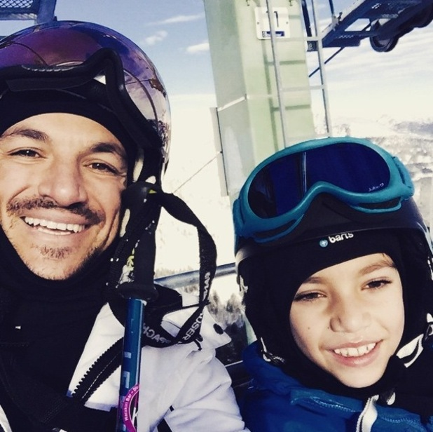 Peter Andre posts first Instagram of himself and Junior skiing 13 January