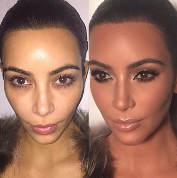 Kim Kardashian West poses for before and after photos after having her make-up done by Mario Dedivanovic at his make-up masterclass in New York - 11 January 2015