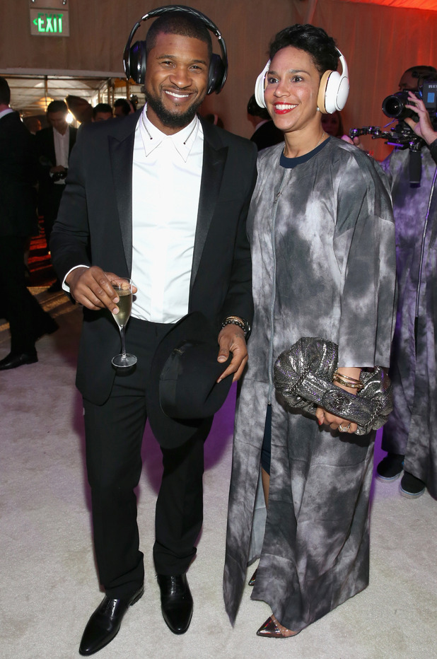 Usher (L) and Grace Miguel attend the 8th Annual HEAVEN Gala presented by Art of Elysium and Samsung Galaxy at Hangar 8 on January 10, 2015 in Los Angeles