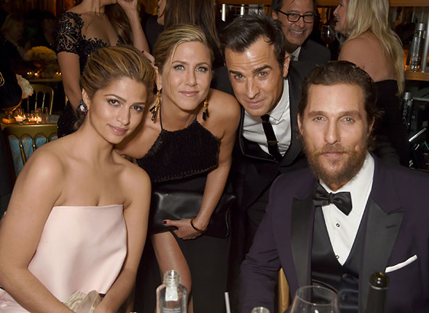 Camila Alves, actors Jennifer Aniston, Justin Theroux and Matthew McConaughey attend HBO's Official Golden Globe Awards After Party at The Beverly Hilton Hotel on January 11, 2015 in Beverly Hills, California.