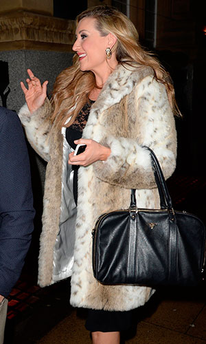 Pregnant Catherine Tyldesley and her fiancé Tom Pitfield arrive at Rosso restaurant Manchester for a meal to celebrate their anniversary, 11 January 2014