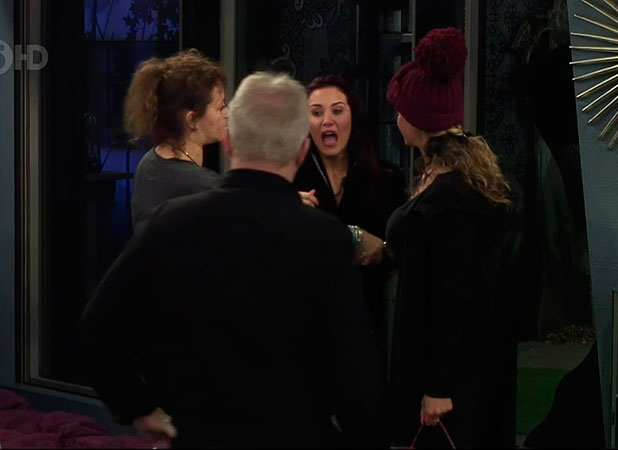 Chloe Goodman tells housemates that Jeremy Jackson exposed her breast on 'Celebrity Big Brother', Shown on Channel 5 HD, January 2014