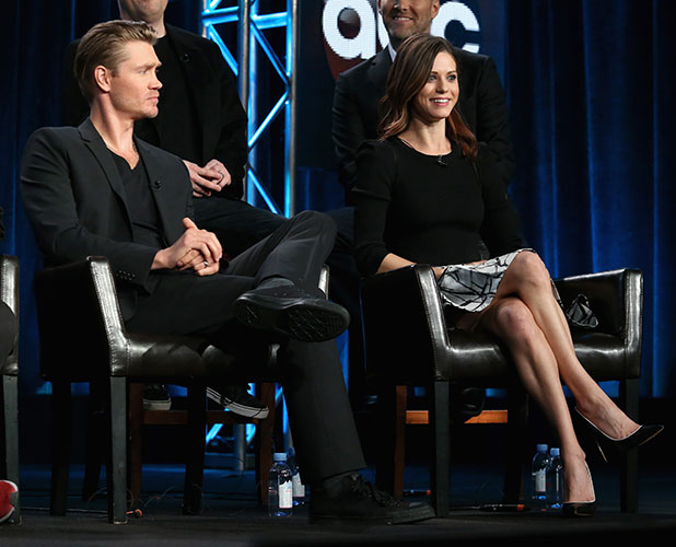 Chad Michael Murray (L) and Lyndsy Fonseca speak onstage during the 'Marvel's Agent Carter' panel at the Disney/ABC Television Group portion of the 2015 Winter Television Critics Association press tour at the Langham Hotel on January 14, 2015 in Pasadena, California. (Photo by Frederick M. Brown/Getty Images)
