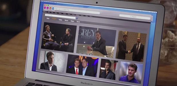 Fifty Shades of Grey new trailer: Jamie Dornan as Christian Grey and Dakota Johnson as Ana Steele. Ana Googles Christian.