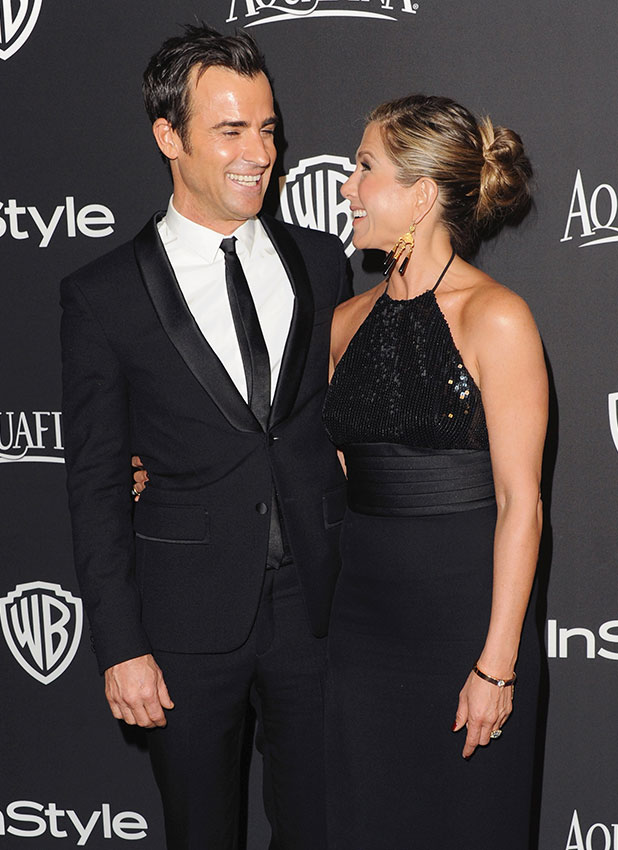 Justin Theroux and actress Jennifer Aniston arrive at the 16th Annual Warner Bros. And InStyle Post-Golden Globe Party at The Beverly Hilton Hotel on January 11, 2015 in Beverly Hills, California.
