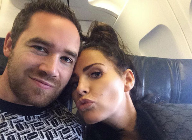 Katie Price and Kieran Hayler on a plane, tweeted 15 January 2015